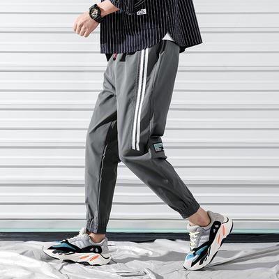款爆2019新品时尚春款条纹潮流休闲裤 A061-1207-P45 涤纶100%