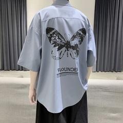 2020新款 港风蓝色宽松衬衣学生短袖衬衫B275-C8011-P45