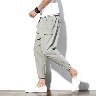 日系纯色大口袋宽松哈伦裤休闲 九分裤K811 P45