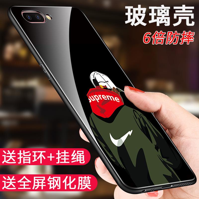 oppoa5手机壳玻璃潮男款oppoa5保护套2018新品0pp0 A5个性创意软硅胶全包防摔酷opp0女网红潮流送钢化膜