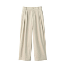 MUJI women's elastic corduroy light pleated wide pants