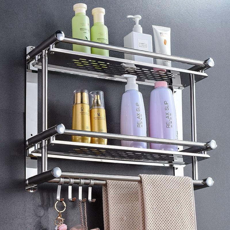 加厚免打孔厕所毛巾架不锈钢置物架双层浴室卫生间浴巾架壁挂卫浴