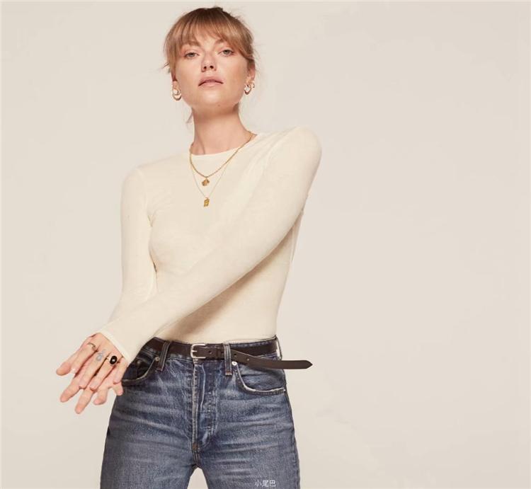 欧美风春秋新款修身显瘦纯棉T恤上衣圆领长袖纯色螺纹打底衫t恤女