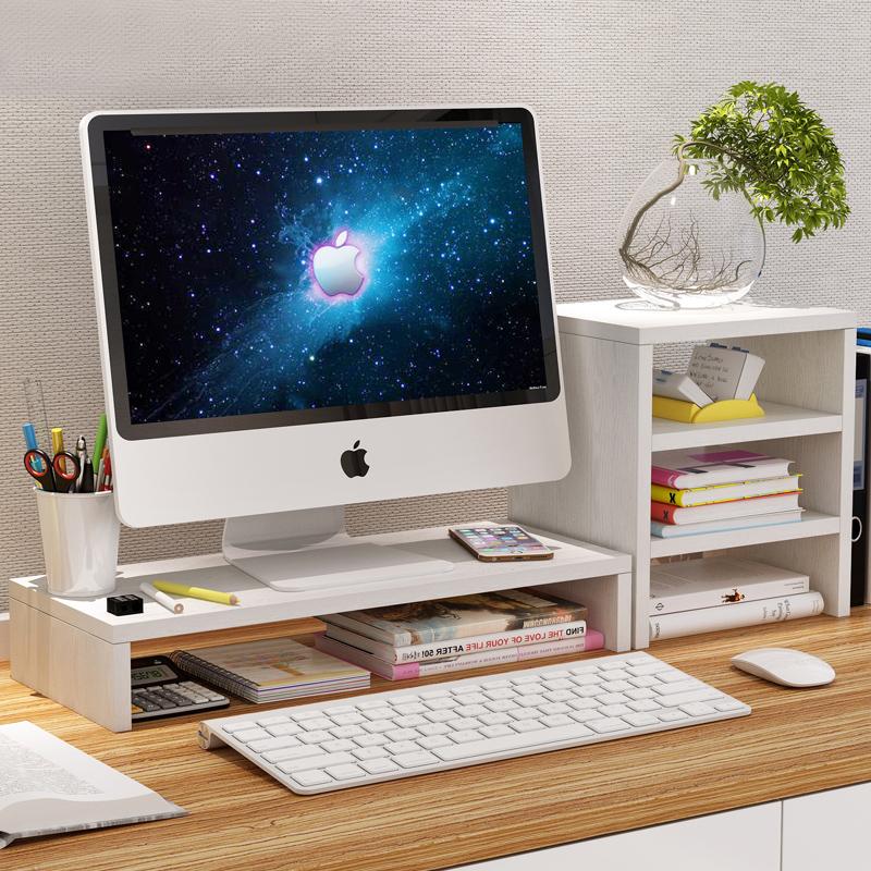 Офис комната рабочий стол компьютер дисплей полка повышать рабочий стол подушка высокий база лифт высокий экран стоять хранение стеллажи