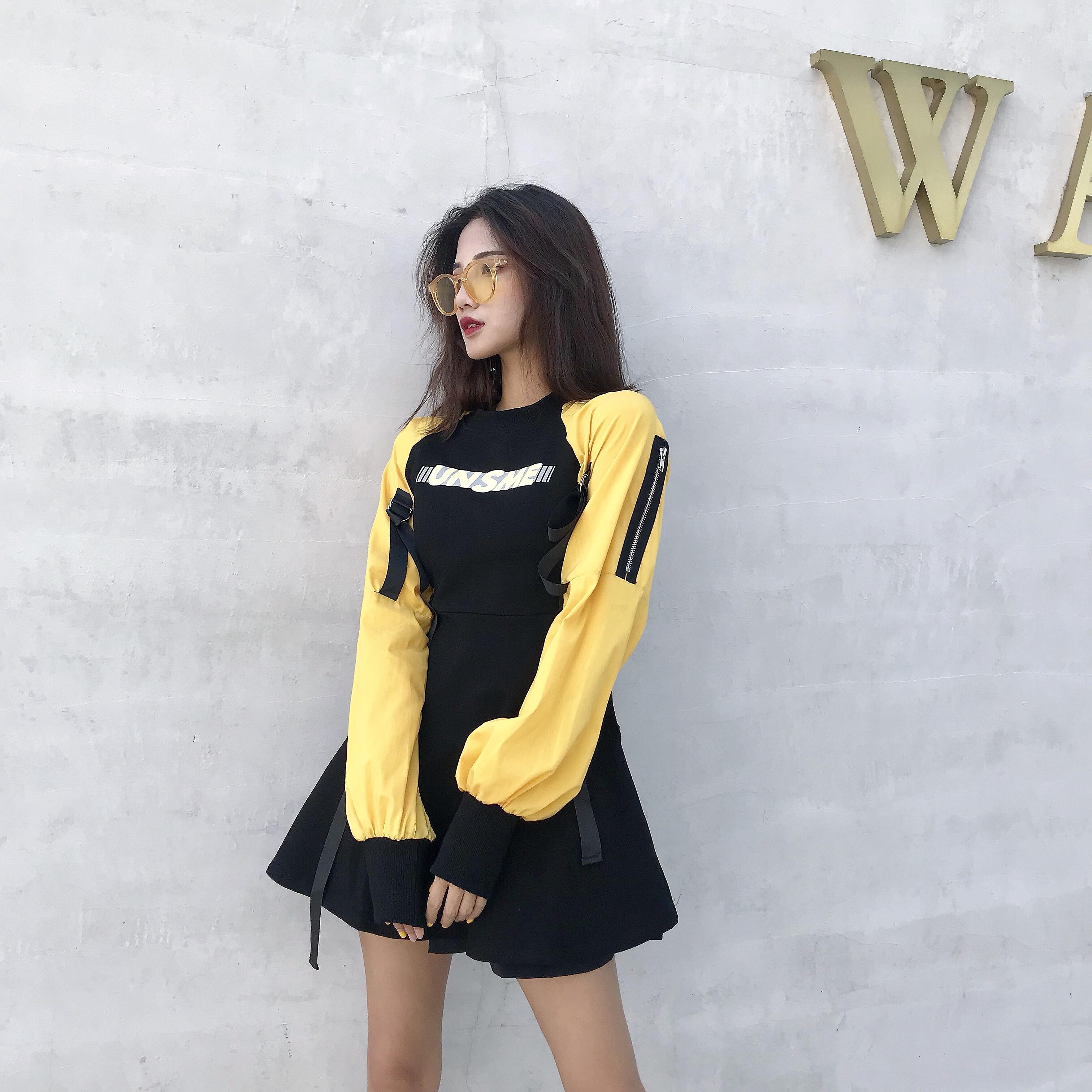 连衣裙女秋装2018新款韩版长袖卫衣裙学生早秋chic中长款休闲裙子