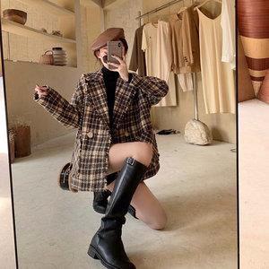 毛呢外套女秋冬2019新款复古格子西装韩版宽松百搭中长款呢子大衣