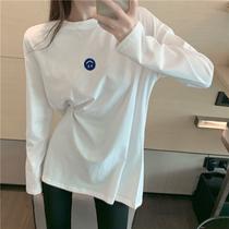 白色打底衫女春装2021新款宽松洋气内搭刺绣中长款长袖T恤上衣ins