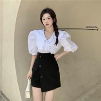 泡泡袖上衣女夏季法式温柔设计感短袖甜美薄款小众白色娃娃领衬衫