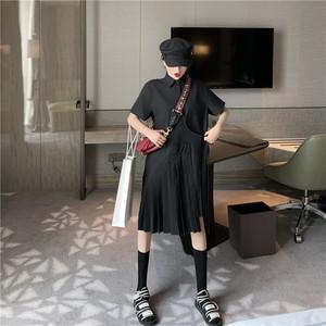 复古短袖衬衫裙黑色百褶宽松连衣裙女新款2019夏季高腰休闲中裙子
