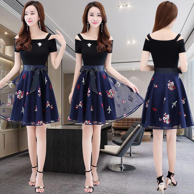 连衣裙女夏装2018新款气质淑女装夏季减龄遮肚子藏肉显瘦网纱裙子