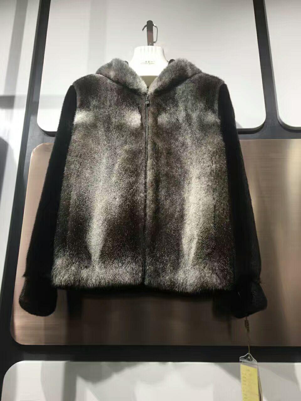 Star mink natural mink coat mens Velvet Black Mink Fur short hooded jacket fur coat