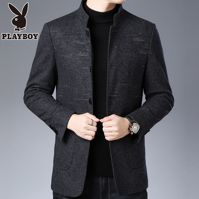 Playboy woolen coat men's thickened warm wool woolen coat men's vertical collar dad fashion