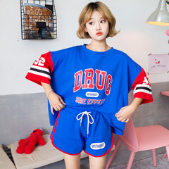 夏季运动休闲两件套时尚套装短袖t恤短裤女 1112# (实拍)