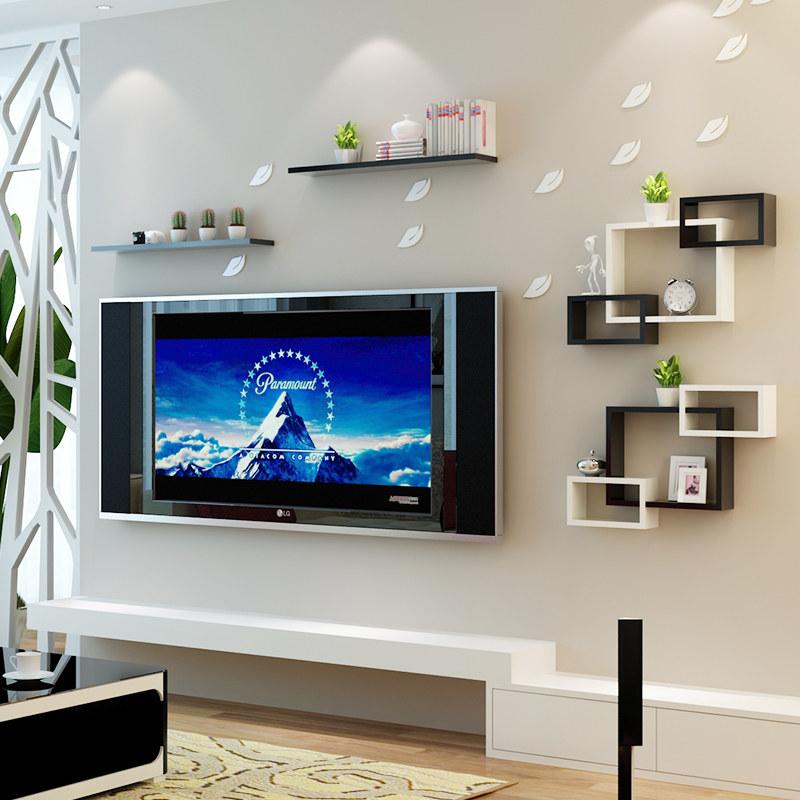 现代简约电视背景墙装饰架 墙壁墙上置物架壁挂客厅墙面创意格子