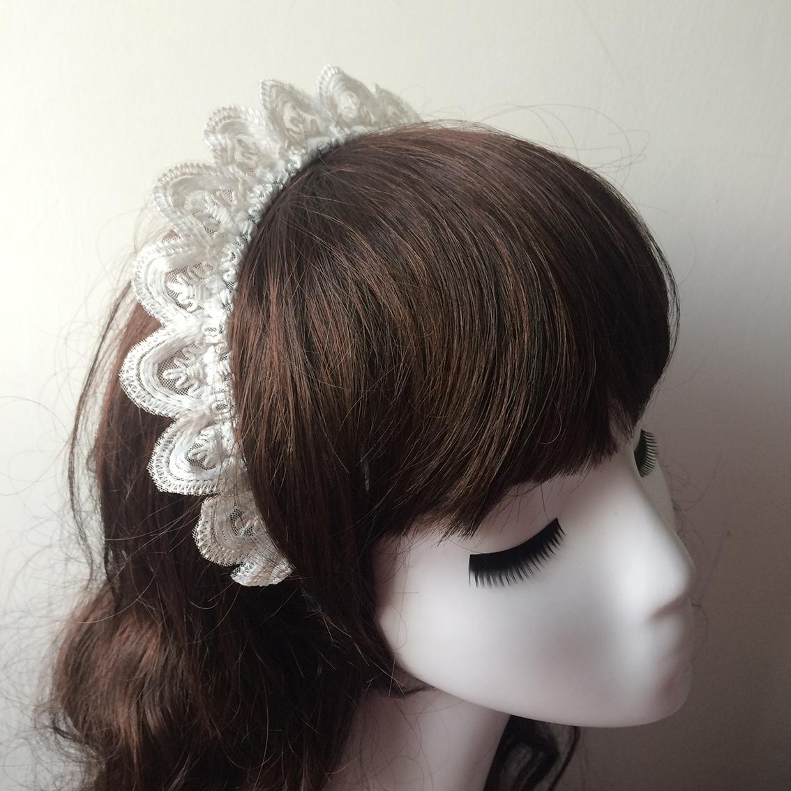 暖暖手作白色洛丽塔蕾丝王冠cos发箍女仆发饰甜美lolita头饰