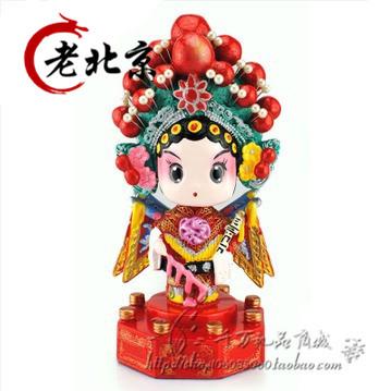 【包邮】可摇头京剧脸谱泥塑摆件 汽车摆件 中国风特色出国礼品