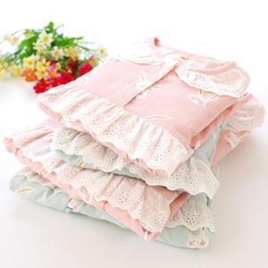 春夏纯棉双层纱布母女亲子薄睡衣长袖长裤套装柔软透气套头家居服