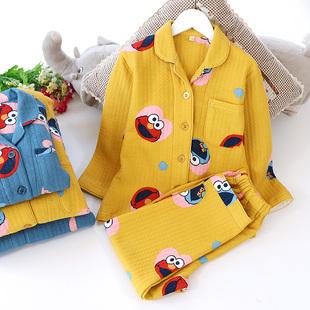 秋冬空气层家庭亲子睡衣男女儿童卡通家居服翻领开衫 长袖 长裤 套装