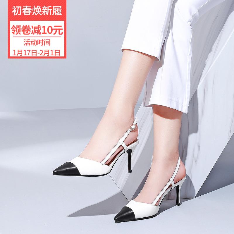 鞋子女2019潮鞋单鞋夏季凉鞋尖头后空细跟单根鞋女2020新款仙女风