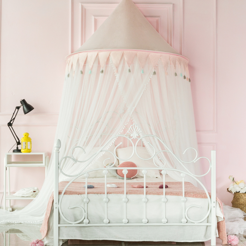 Ins dome ceiling mosquito net Princess wind 1.5/1.8m childrens boy girl mosquito net European family bed curtain