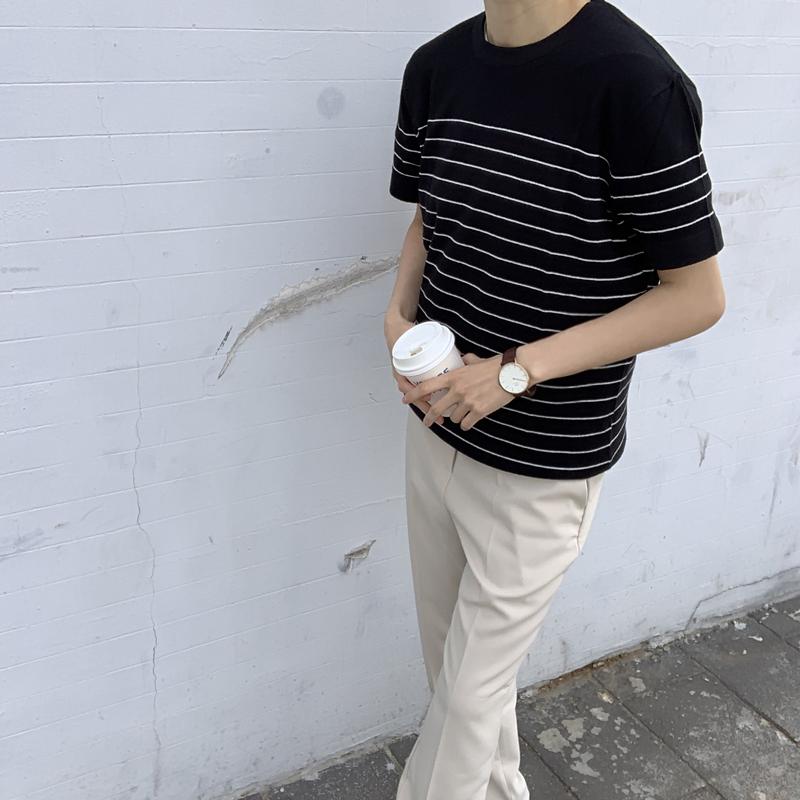 绅士英伦夏季黑白蓝色细条纹休闲棉线圆领短袖针织薄款T恤衫男潮t