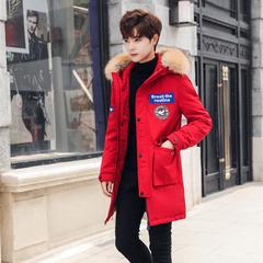 2018新款韩版青少年中长款时尚帅气羽绒服加厚外套18068/p390