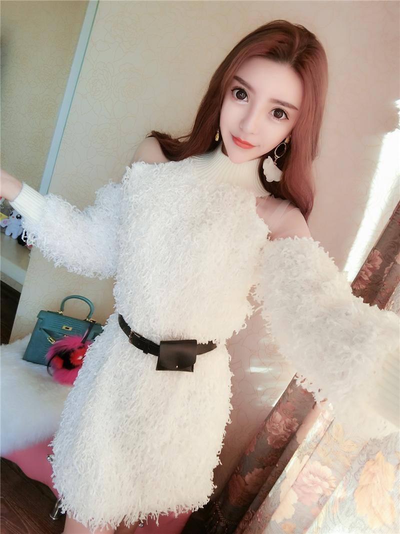 9957#实拍韩版圆领网纱拼接露肩长袖羊羔毛连衣裙+皮带
