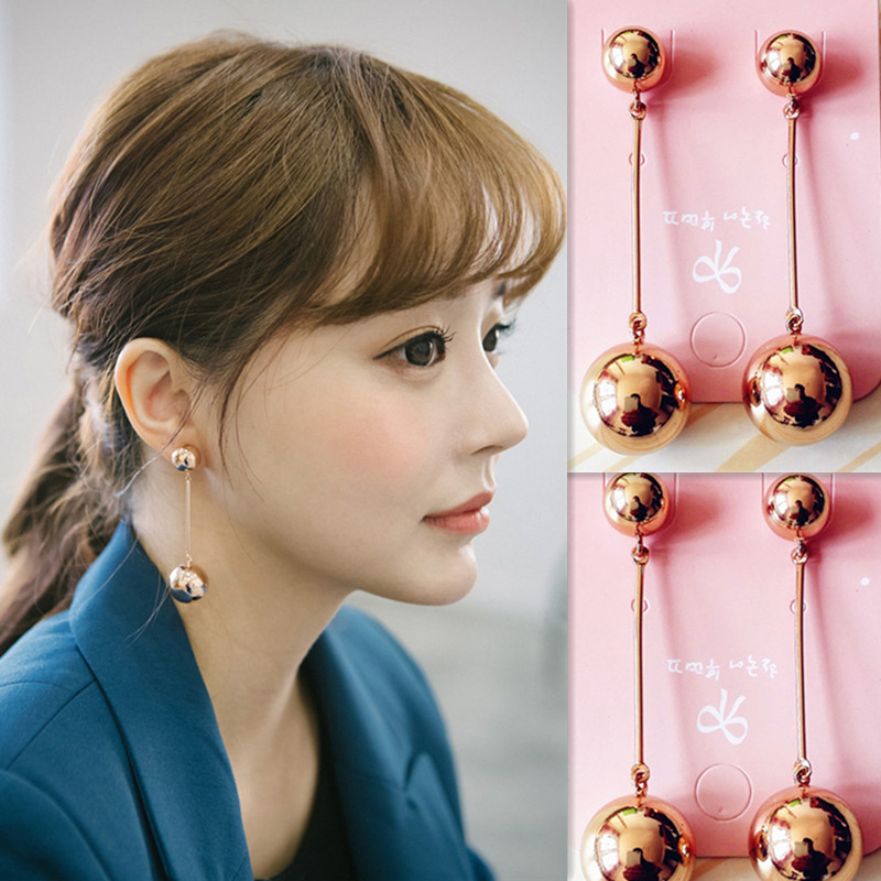 Korean retro exaggerated temperament size pearl metal ball earrings long women tassel European and American personalized earrings earrings