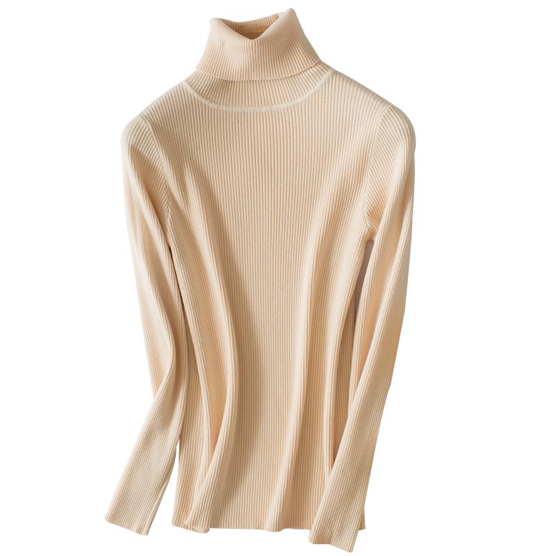 小高领紧身打底衫女秋冬新款韩版加厚修身大码黑色长袖针织衫毛衣