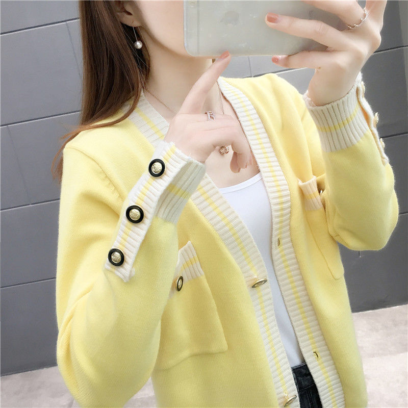 Early autumn womens cardigan spring and Autumn New Korean version loose and thin, versatile sweater, womens coat fashion with knitwear