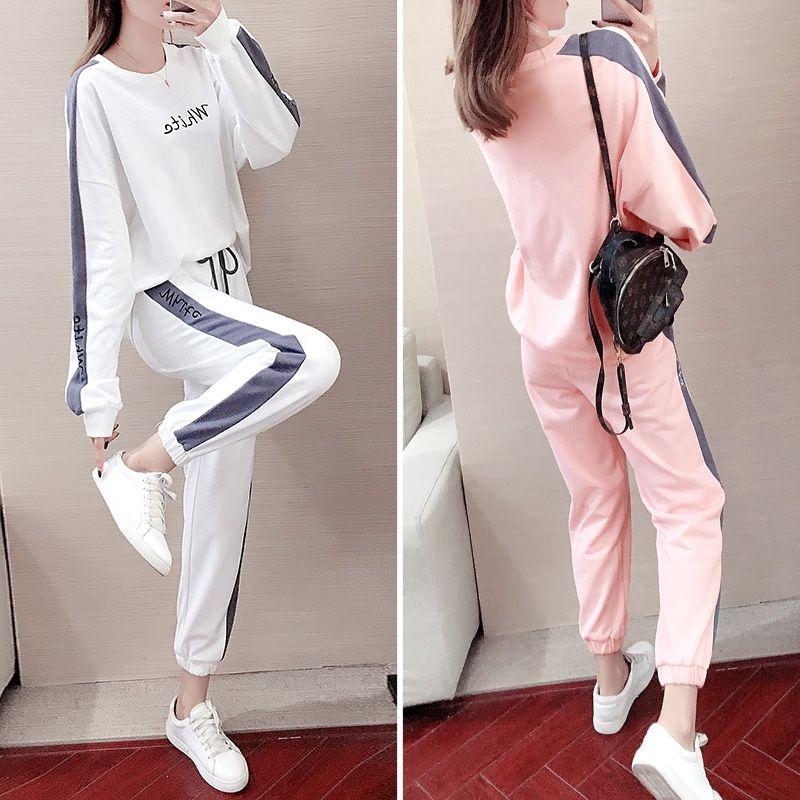 大码休闲时尚运动套装女胖妹妹韩版洋气宽松显瘦百搭两件套新款潮
