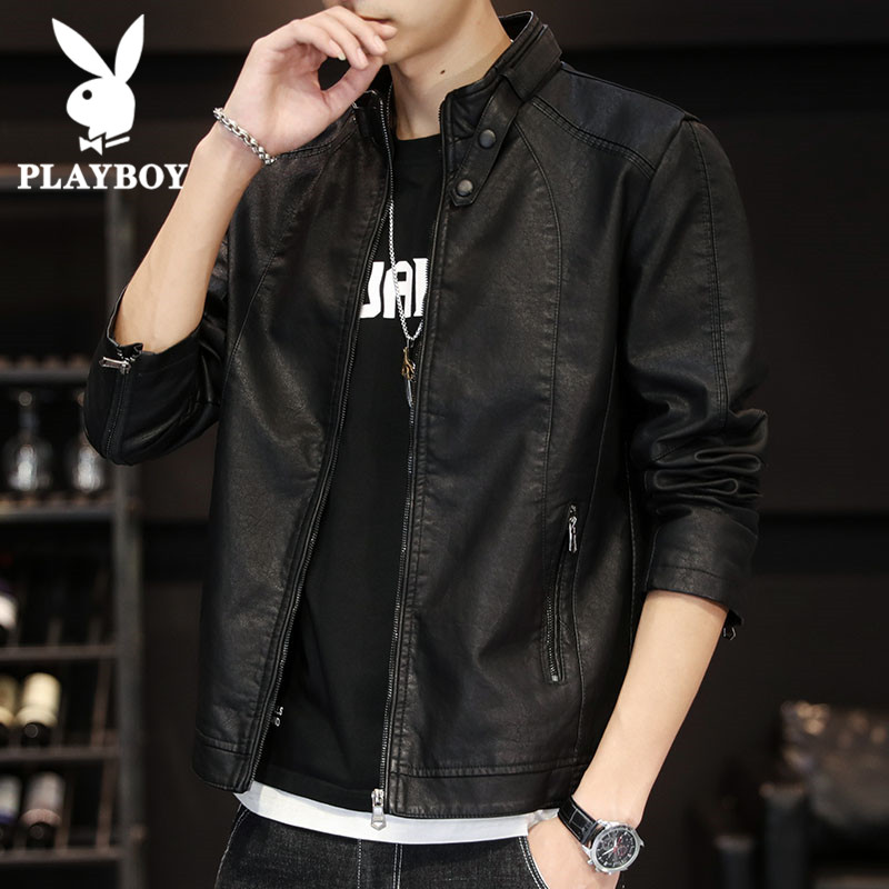 Panasonic Men's Leather Spring Autumn Korean version of the trend handsome upper clothes jacket simulation leather hostel casual jacket