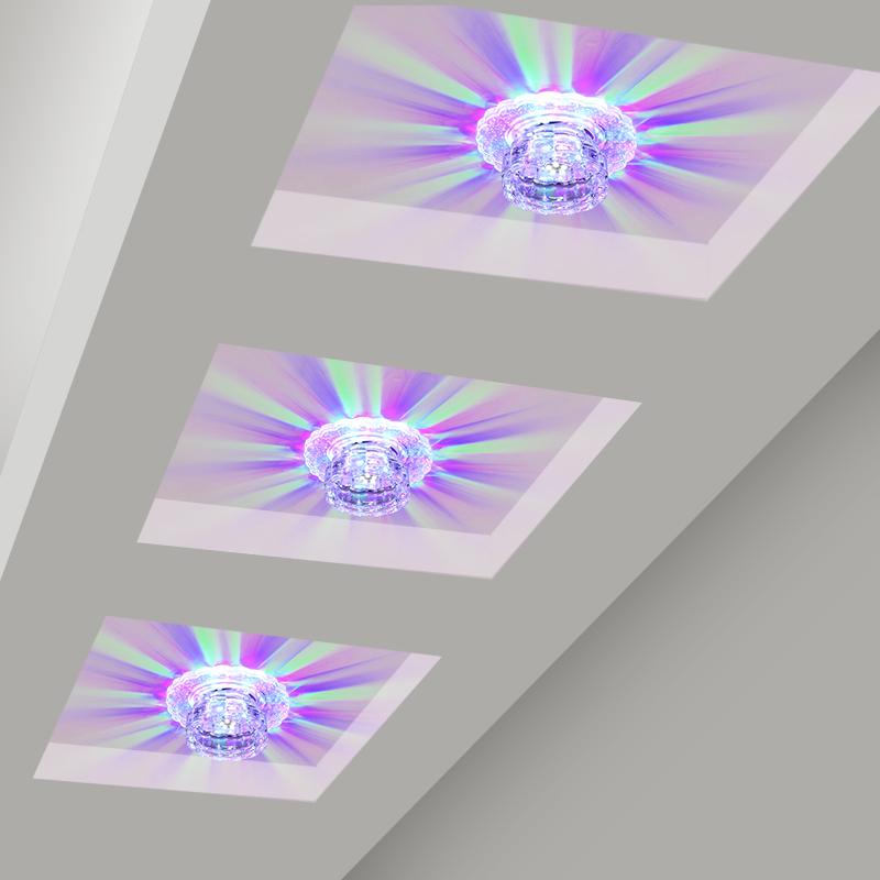 led水晶燈七彩射燈過道燈走廊燈天花燈 門廳玄關燈吸頂燈創意筒燈