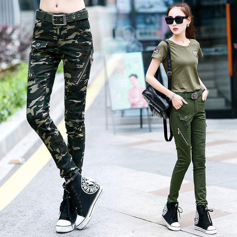 Autumn new outdoor camouflage pants womens elastic casual overalls large military uniform small Leggings mountain climbing pants