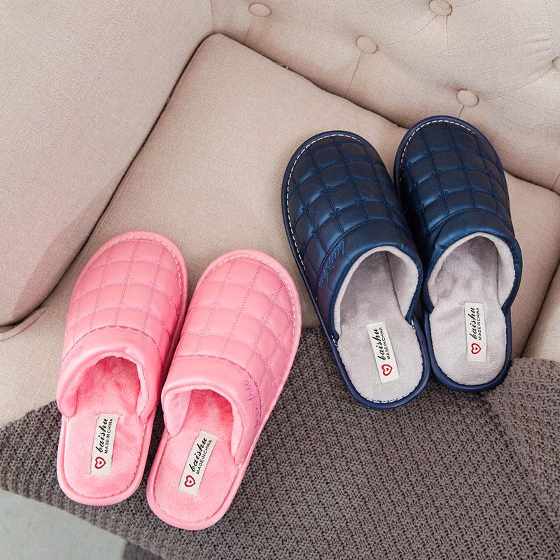 冬季情侣棉拖鞋男女PU皮防水包跟厚底家居家室内防滑保暖月子拖鞋