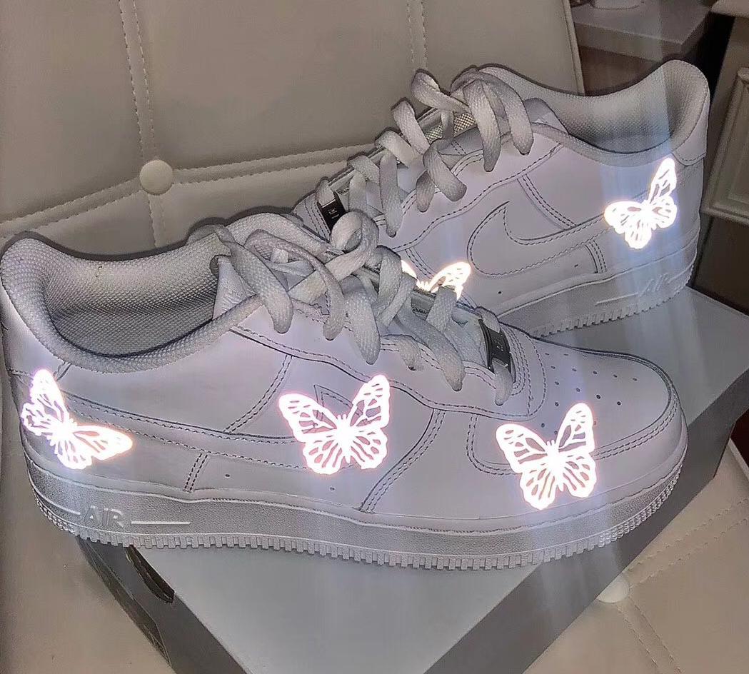 球鞋定制DIY反光镭射夜光蝴蝶炫彩个性定制服务来图定制OW设计