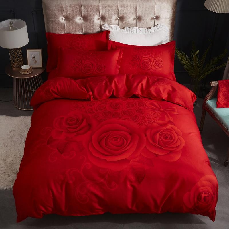 Wedding four piece all cotton bedding wedding red wedding bride wedding room bed sheet groom
