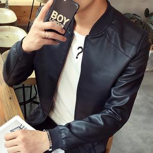 皮衣男士2021春秋季新款修身外套韩版潮流帅气机车服休闲夹克男装