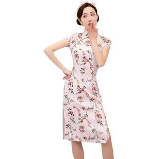 旗袍短款2020新款夏季端莊大氣改良版修身性感年輕少女低領連衣裙
