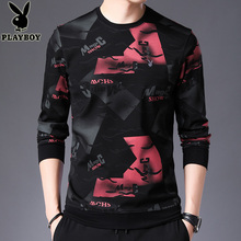 Playboy 2019 autumn long sleeve t-shirt men's sweater printed round neck slim upper garment trend bottoming shirt
