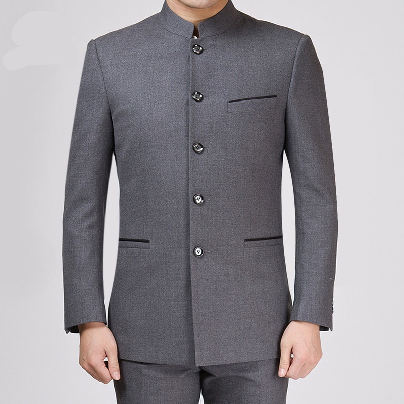 Chinese stand collar mens suit suit Zhongshan suit pure grey suit Chinese fathers autumn winter coat