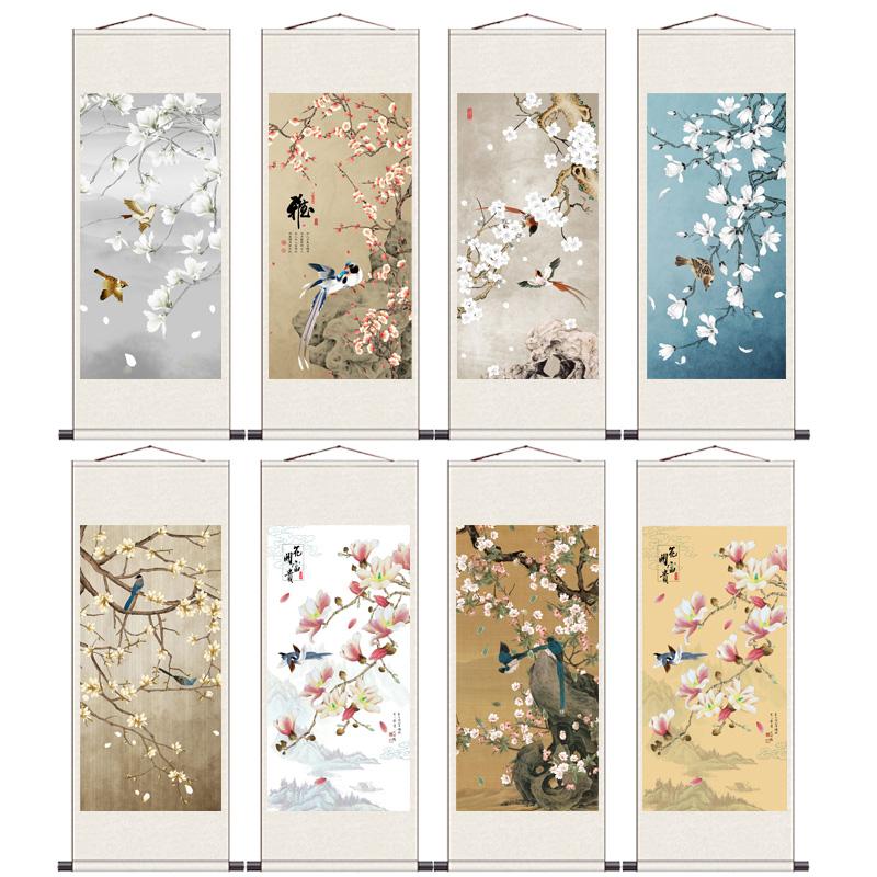 荷花九魚玉蘭花開辦公室裝飾畫茶樓古典掛畫絲綢掛畫卷軸禮品畫