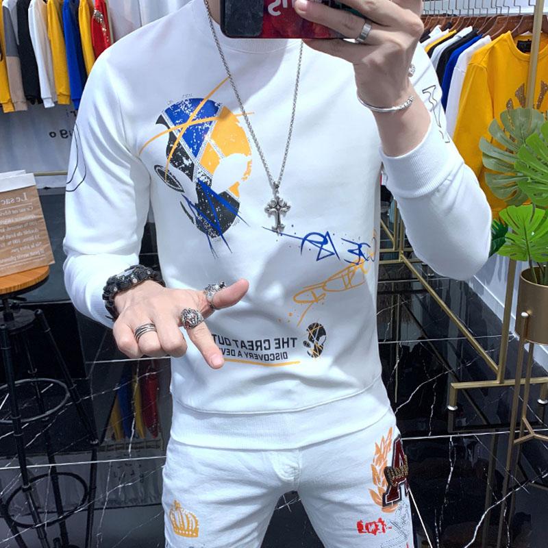 2020秋冬新品潮牌卫衣男修身圆领T恤个性骷髅头印花套头长袖上衣图片