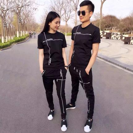 2018夏季男士圆领短袖t恤薄款一套情侣装休闲运动套装两件套衣服