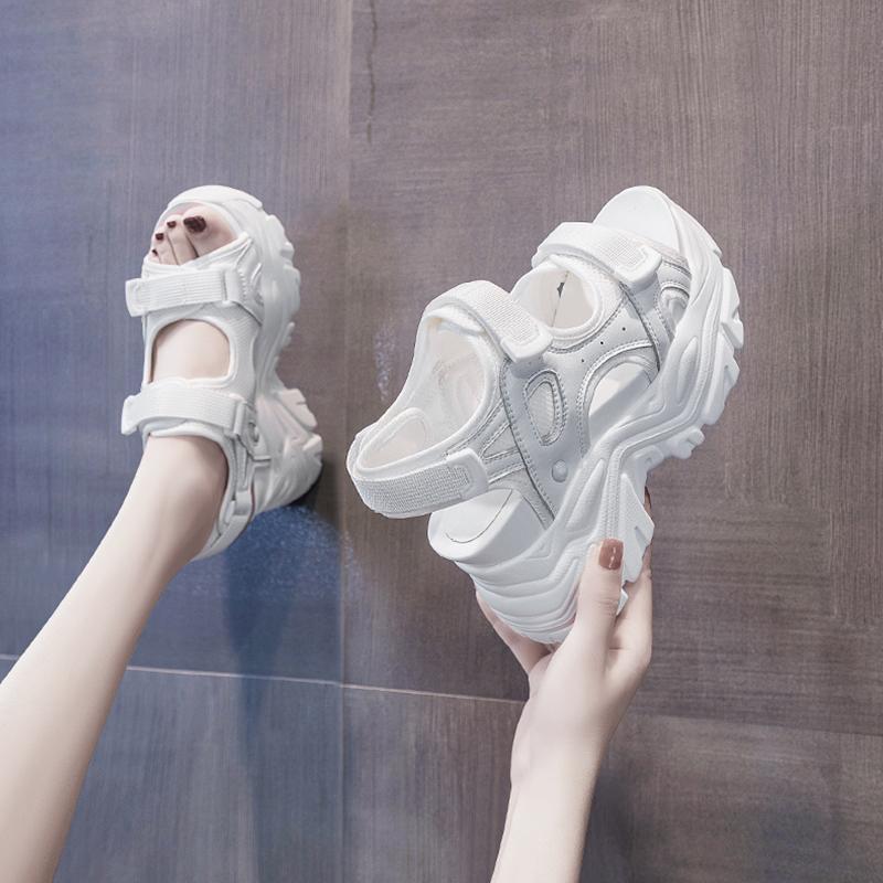 厚底鱼嘴凉鞋子女鞋内增高跟2021年夏季新款仙女坡跟运动松糕爆款