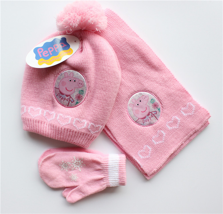Parcel mail Peipei pig Paiqi pink pig girl knitting childrens wool hat scarf gloves