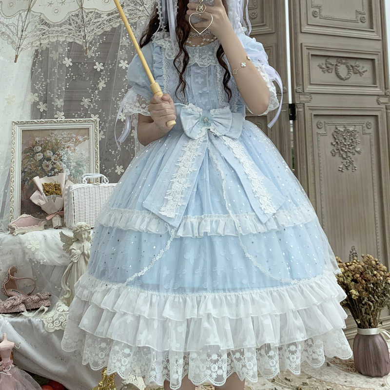 Spot Lolita original design star song Lolita early summer girl fresh and sweet blue short sleeve OP dress