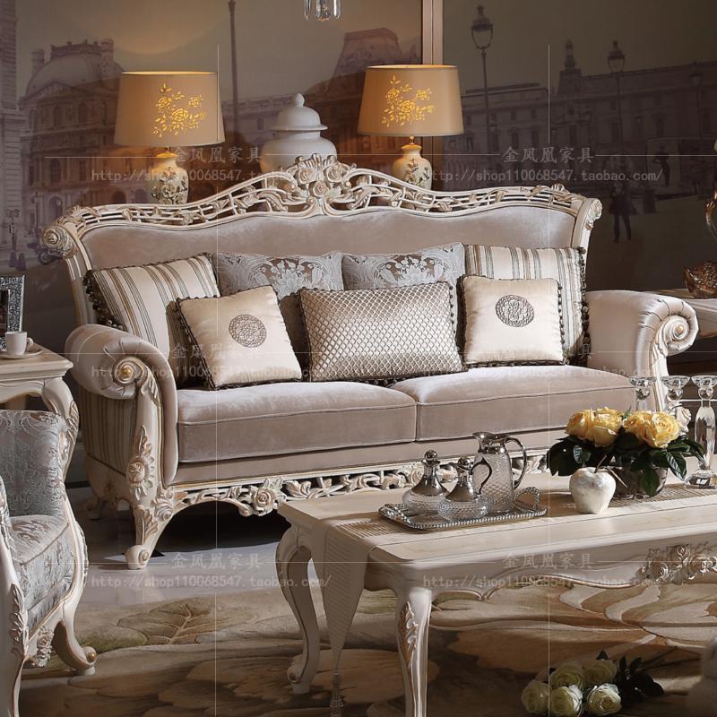 European style solid wood carved sofa villa living room French cloth three person sofa combination Italian large family sofa