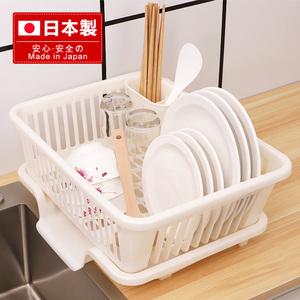 日本进口放碗筷沥水收纳盒家用厨房碗架带盖沥碗收纳箱碗盘碗碟架