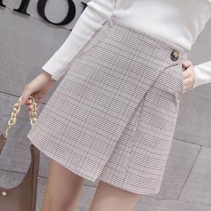 实拍2018新款春夏格子半身裙高腰短裙A字包臀裙子女